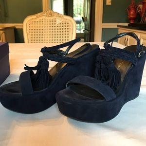 Stuart Weizmann navy suede sandals with tassels